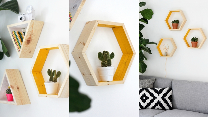 DIY Geometric Shelves