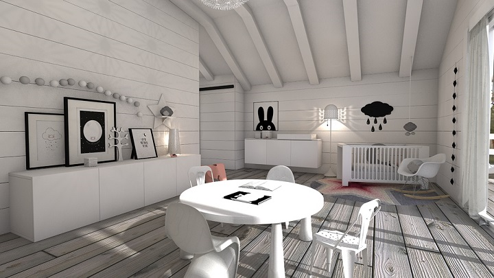 Children's rooms in black and white