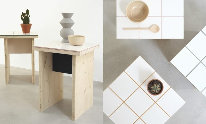 How to make a decorative and functional side table made of wood and tiles