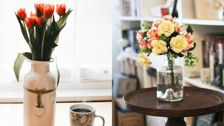 decorate with artificial flower