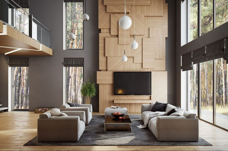 Modern Walls In The Interior Of The Living Room