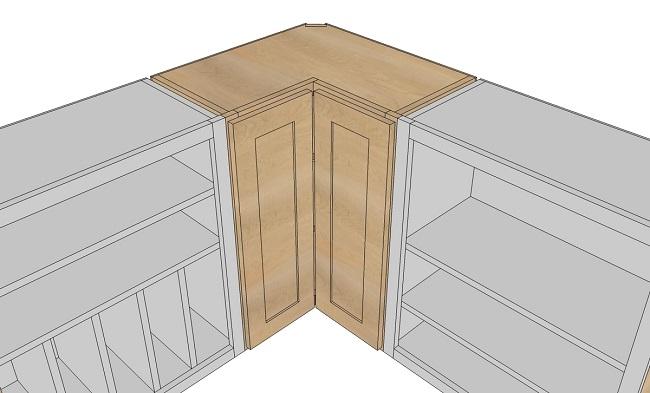 Full access to the corner cabinets kitchen through 1 door or 2 doors